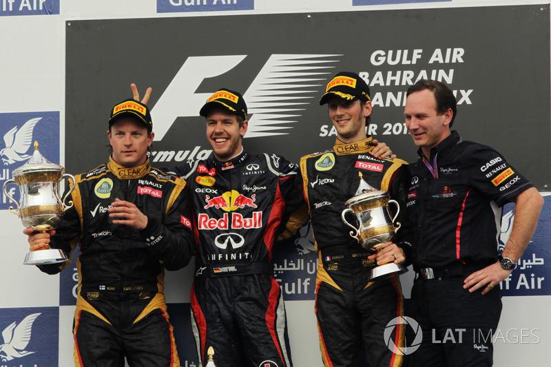 2012. Подіум: 1. Себастьян Феттель, Red Bull. 2. Кімі Райкконен, Lotus. 3. Ромен Грожан, Lotus