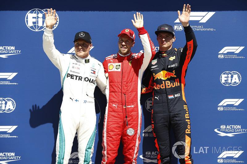 Top three Qualifiers Sebastian Vettel, Ferrari, Valtteri Bottas, Mercedes AMG F1, and Max Verstappen