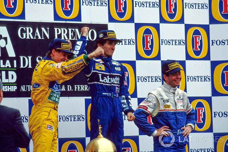 Podium: race winner Alain Prost, second place Michael Schumacher, third place Martin Brundle