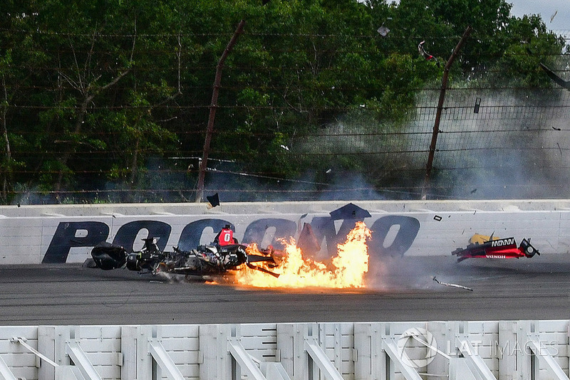 Robert Wickens, Schmidt Peterson Motorsports Honda, crashes at Pocono