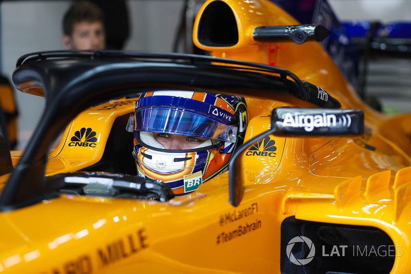 Lando Norris, McLaren, in cockpit