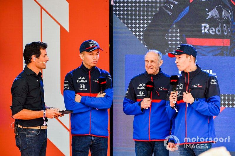 Mark Webber, Alexander Albon, Scuderia Toro Rosso, Franz Tost, Team Principal, Toro Rosso e Daniil Kvyat, Toro Rosso, all'evento a Federation Square