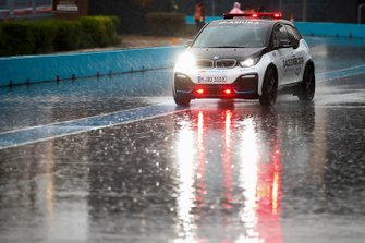 The Race Director's BMW i3 ventures onto the wet track