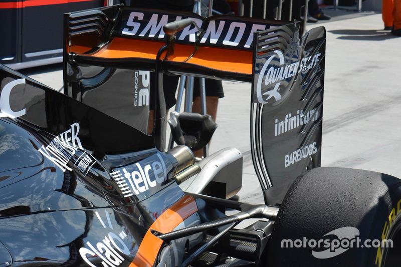 Nico Hulkenberg, Sahara Force India F1 VJM09 rear wing detail