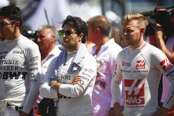 Esteban Ocon, Force India, Sergio Pérez, Force India, Kevin Magnussen, Haas F1 Team