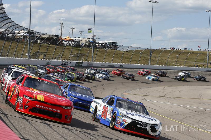 Justin Allgaier, JR Motorsports Chevrolet, Ryan Preece, Joe Gibbs Racing Toyota