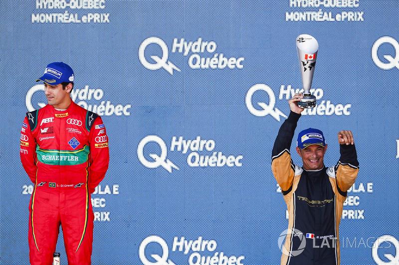 Lucas di Grassi, ABT Schaeffler Audi Sport, celebrates on the podium with Stéphane Sarrazin, Techeetah