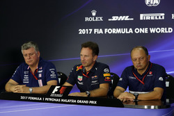 Otmar Szafnauer, Sahara Force India Formula One Team Chief Operating Officer, Christian Horner, Red Bull Racing Team Principal and Frederic Vasseur, Sauber Team Principal in the Press Conference