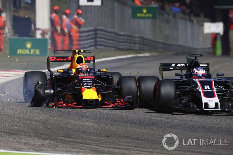 Max Verstappen, Red Bull Racing RB13, collides, Romain Grosjean, Haas F1 Team VF-17