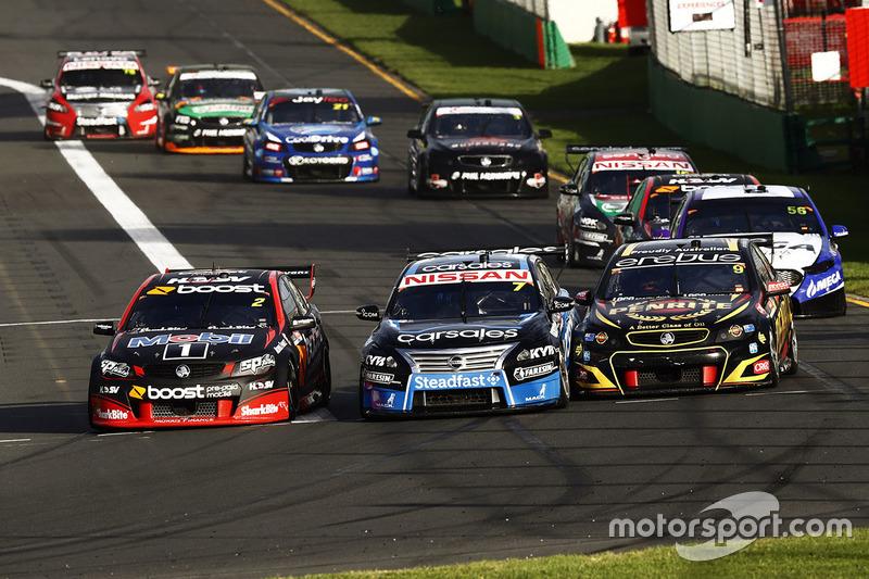 Scott Pye, Holden Racing Team; Todd Kelly, Nissan Motorsports; David Reynolds, Erebus Motorsport, Holden