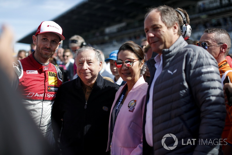 René Rast, Audi Sport Team Rosberg, Jean Todt, FIA President with wife Michelle Yeoh and Gerhard Berger, ITR Chairman