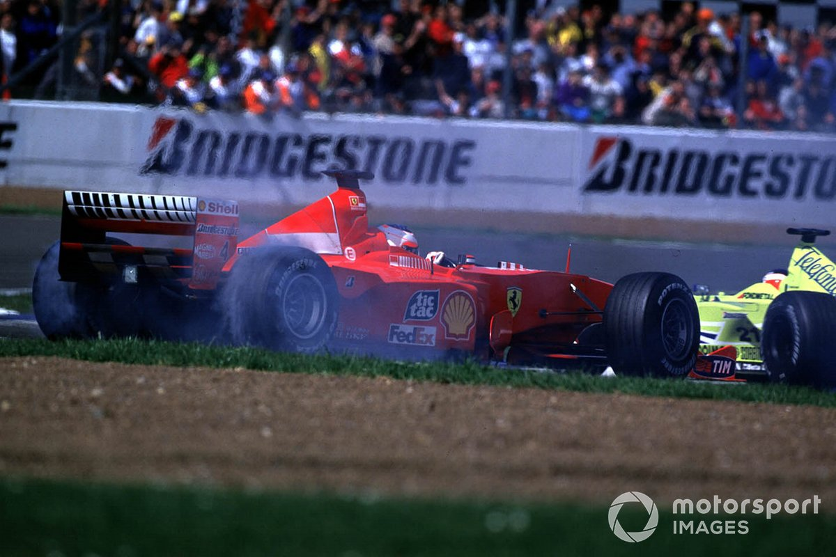 A Hydraulic failure causes Rubens Barrichello, Ferrari F1-2000 to spin while leading the race