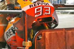 Marc Marquez, Repsol Honda Team, showing new aerodynamic fairing/wing after a crash