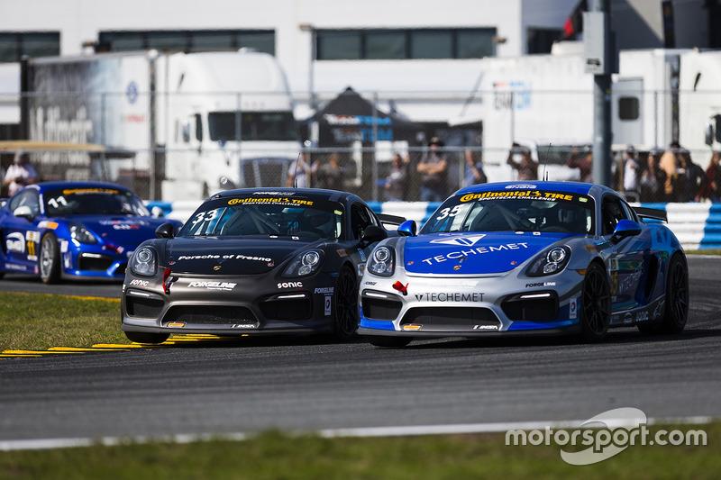 #35 CJ Wilson Racing Porsche Cayman GT4: Russel Ward, Damien Faulkner, #33 CJ Wilson Racing Porsche Cayman GT4: Marc Miller, Till Bechtolsheimer