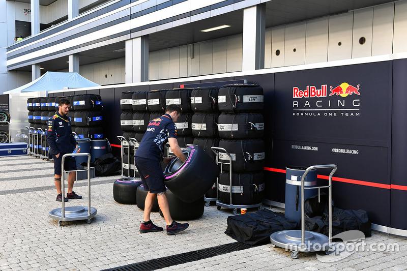Red Bull Racing mechanics and Pirelli tyres