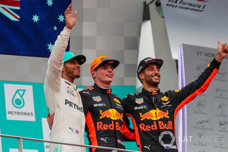Podium: second place Lewis Hamilton, Mercedes AMG F1, Race winner Max Verstappen, Red Bull Racing, third Daniel Ricciardo, Red Bull Racing