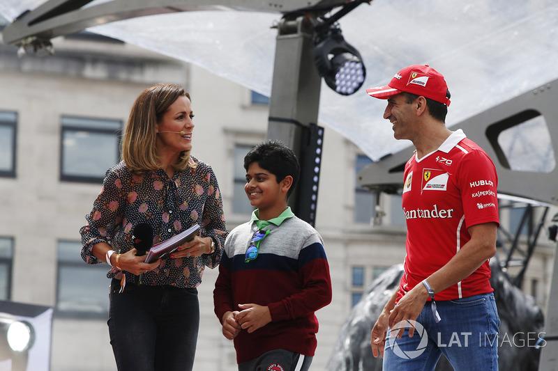 Marc Gene, Ferrari, on stage alongside Natalie Pinkham, TV Presenter, Sky Sports F1