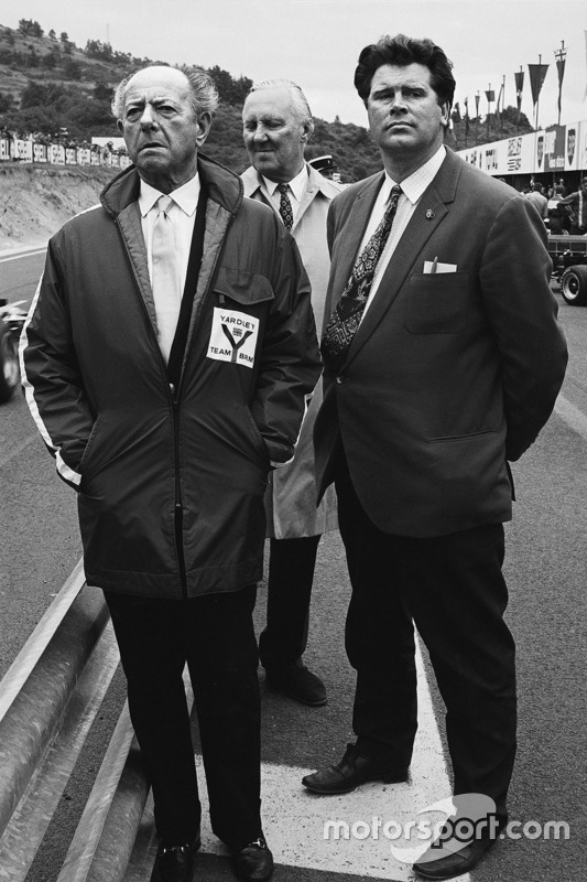 1971, Tim Parnell, Yardley BRM team manager with BRM founder Raymond Mays
