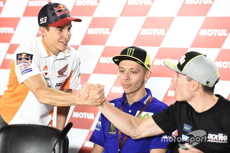Marc Marquez, Repsol Honda Team, Valentino Rossi, Yamaha Factory Racing, Aleix Espargaro, Aprilia Ra