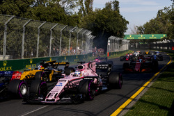 Sergio Perez, Force India VJM10, leads Nico Hulkenberg, Renault Sport F1 Team RS17, and Fernando Alonso, McLaren MCL32