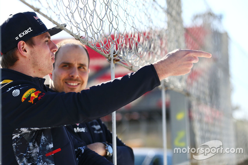 Max Verstappen, Red Bull Racing with Gianpiero Lambiase, Red Bull Racing engineer