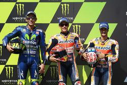 Polesitter Marc Marquez, Repsol Honda Team; 2. Valentino Rossi, Yamaha Factory Racing; 3. Dani Pedrosa, Repsol Honda Team