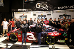 Austin Dillon, Richard Childress Racing Chevrolet Camaro with Crew chief Justin Alexander and Team owner Richard Childress with the team