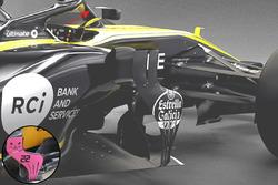 Renault RS18 vs. RS17: Windabweiser, Vergleich