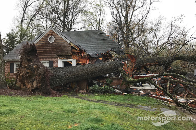 The Brady home in Atlanta, Georgia, after a tree fell on it while they were watching the Australian