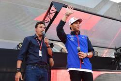 Will Buxton, FOM TV Presenter and Pierre Gasly, Scuderia Toro Rosso at the Fan Zone