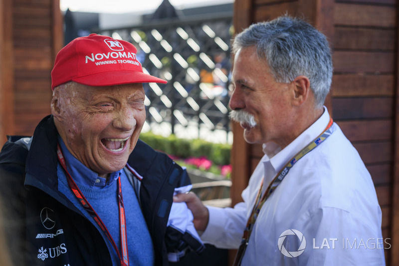 Niki Lauda, Mercedes AMG F1 Non-Executive Chairman and Chase Carey, Chief Executive Officer and Executive Chairman of the Formula One Group