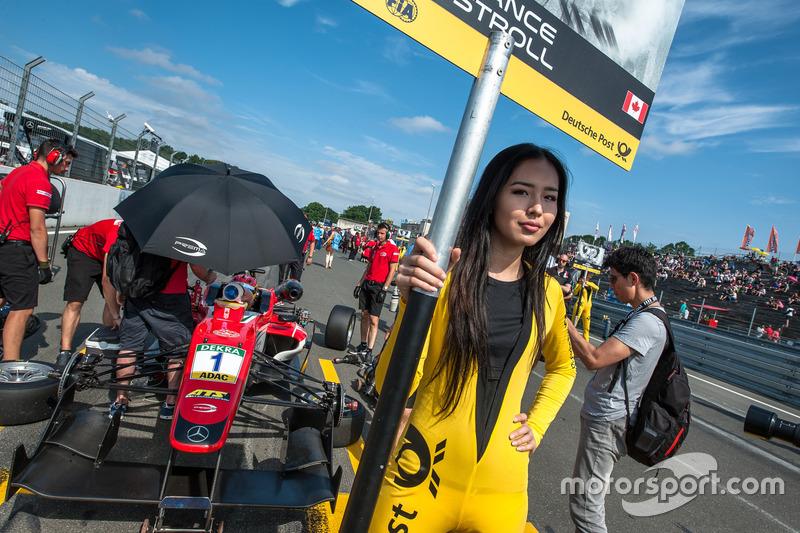 Grid girl, Lance Stroll, Prema Powerteam Dallara F312 - Mercedes-Benz