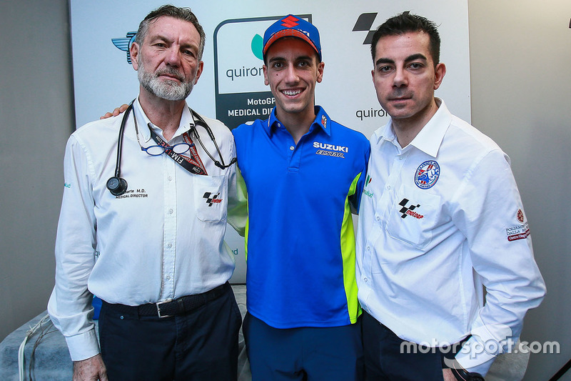 Alex Rins, Team Suzuki MotoGP, Dr Angel Charte, MotoGP Medical Director, Dr Michele Zasa, Clinica Mobile