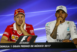 Sebastian Vettel, Ferrari and Lewis Hamilton, Mercedes AMG F1 in the Press Conference