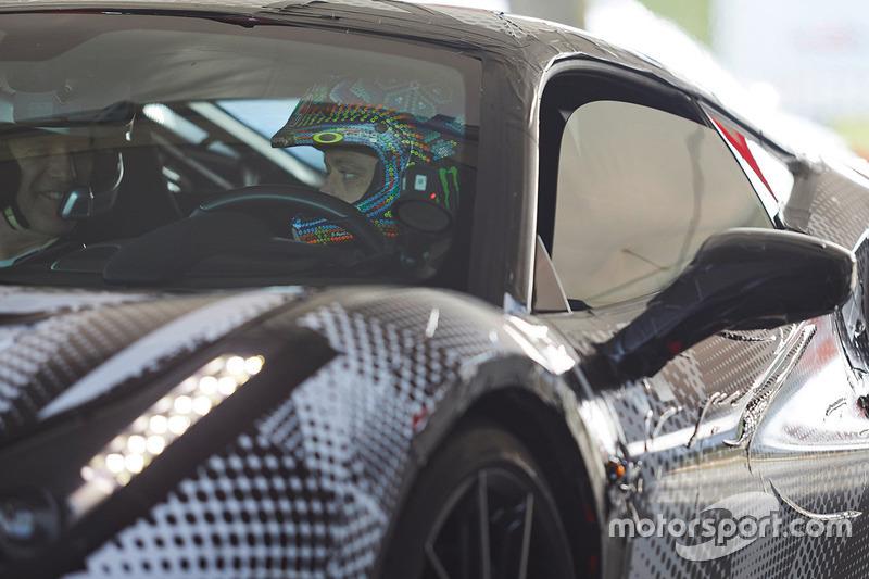 Valentino Rossi testing the Ferrari 488 Pista