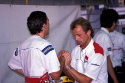 Ayrton Senna, McLaren receives a hand massage from Josef Leberer, McLaren Physio