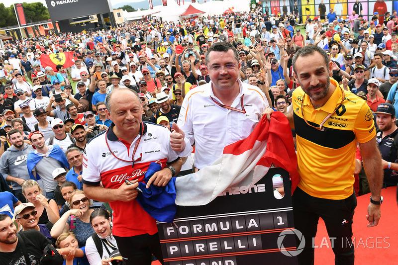 Frederic Vasseur, Sauber, Team Principal, Eric Boullier, McLaren Racing Director, dan Cyril Abiteboul, Renault Sport F1 Managing Director
