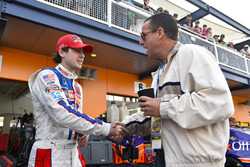 Ryan Blaney, Wood Brothers Racing Ford, with actor Adam Sandler