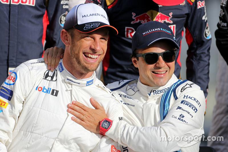 Jenson Button, McLaren F1 and Felipe Massa, Williams F1 Team