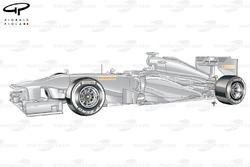 Mock Pirelli test car with Medium (white) compound tyres