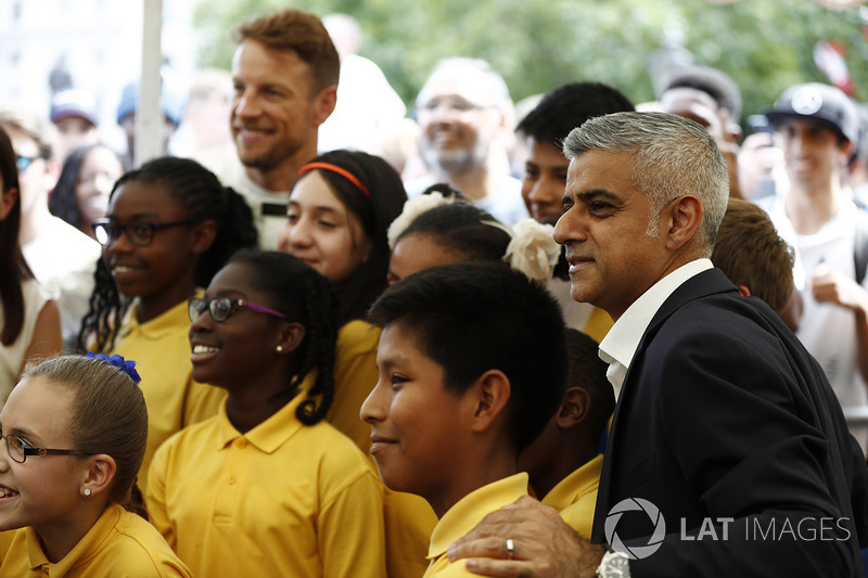 Mayor of London Sadiq Khan has his photo taken, some school children