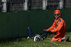 #19 M.Racing - YMR, Norma M 30 - Nissan: Gwenael Delomier after a huge crash