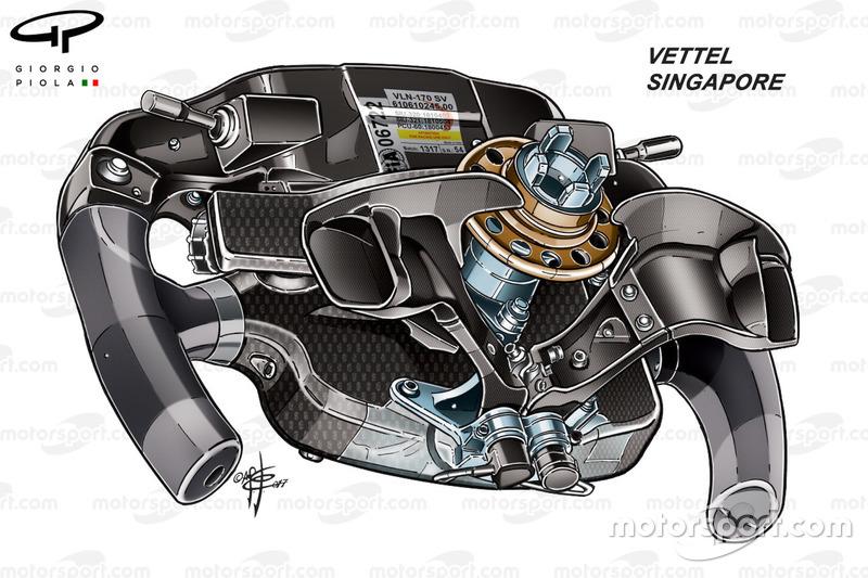 Ferrari SF70H, vista posteriore del volante di Sebastian Vettel