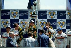 Podium: Christophe Bouchut, Geoff Brabham, Eric Helary, Peugeot 905C