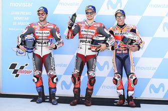 Les hommes de la première ligne : Andrea Dovizioso, Ducati Team, Jorge Lorenzo, Ducati Team, Marc Marquez, Repsol Honda Team