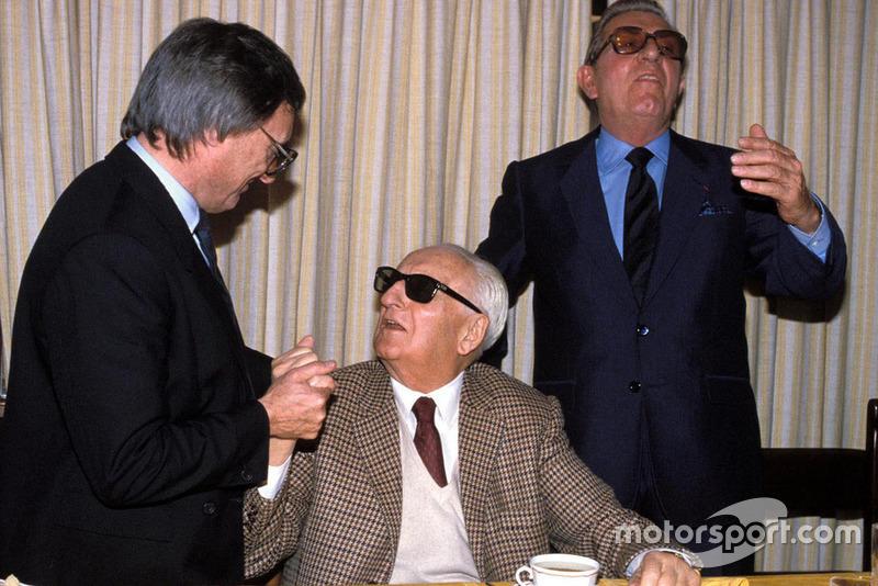 Enzo Ferrari, Bernie Ecclestone et Jean-Marie Balestre lors du renouvellement des Accords Concorde en 1987