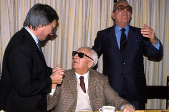 Maranello 1987, Enzo Ferrari, Bernie Ecclestone and Jean Marie Balestre on the day of renewal of the Concorde Agreement