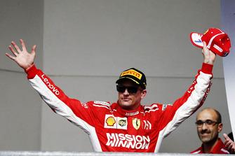 Kimi Raikkonen, Ferrari, 1st position, arrives on the podium