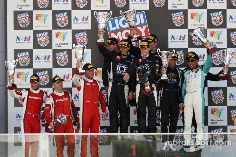 Podium GT3 Pro/AM: ganador, #12 Competition Motorsports powered by Ice Break, Porsche 991 GT3 R: David Calvert-Jones, Patrick Long, Marc Lieb, Matt Campbell; segundo, #9 Hallmarc, Audi R8 LMS: Marc Cini, Lee Holdsworth, Dean Fiore, tercero, #3 Team ASR Pty Ltd, Audi R8 LMS: Ash Samadi, Daniel Gaunt, Matt Halliday