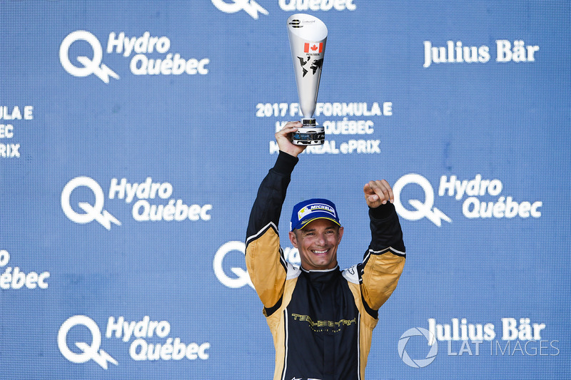 Stéphane Sarrazin, Techeetah, celebra en el podio